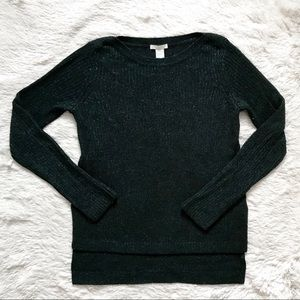 H&M Holiday Green Glittered Knit Sweater